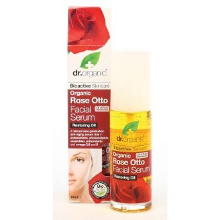 Dr. Organic arcápoló szérum damaszkuszi rózsaolajjal, 30 ml