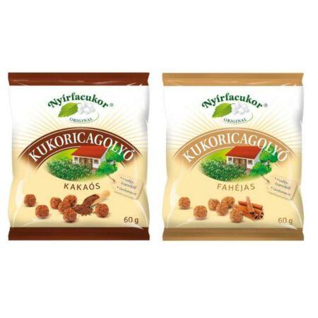 Nyírfacukor kukoricagolyó 60g fahéjas, kakaós 60 g
