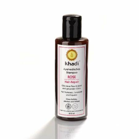 Khadi ayurvédikus sampon – Rózsa -Sérült, töredezett hajra