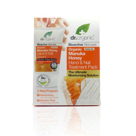 Dr. Organic Kéz- és körömápoló hidratáló kezelés bioaktív Manuka mézzel + AJÁNDÉK Hidratáló bambuszkesztyű