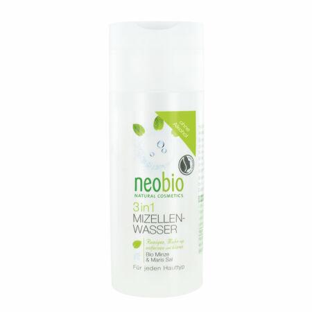 Neobio 3 az 1 - ben Micellás arctisztító víz bio mentakivonattal és tengeri sóval
