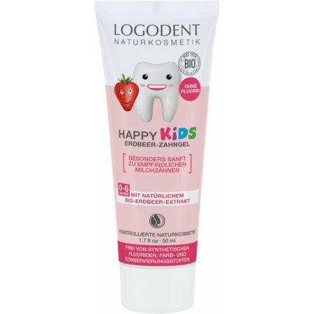 Logodent Happy Kids Fluoridmentes gyermek foggél bio eperkivonattal, 50ml