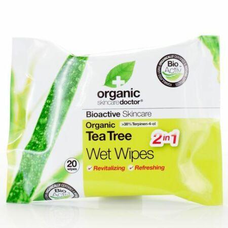 Dr Organic Bio Teafa nedves törlőkendő