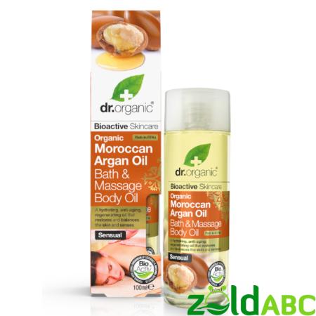 Dr Organic Fürdő-és masszázsolaj marokkói bio argánolajjal, 100 ml