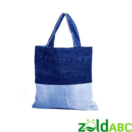 Old Blue Bevásárló táska, újrahasznosított farmerből, 40x40cm