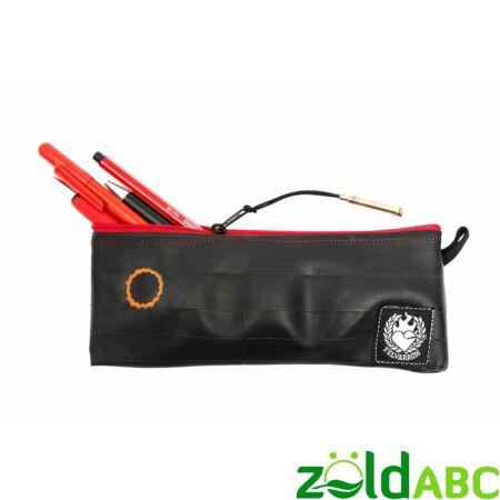 PenTube Tolltartó újrahasznosított bicikligumiból, piros cipzár, Felvarrom