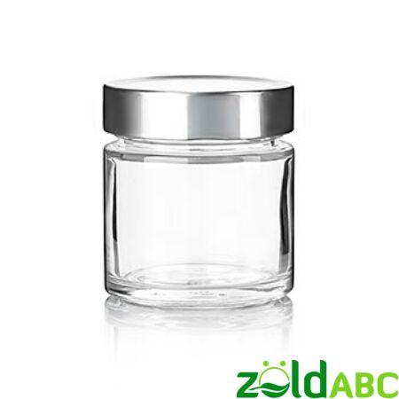 Üveg tégely, ezüst fedővel, 30ml, 212ml